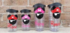"""Personalized Mickey and Minnie Mouse Pirate """"Tervis"""" type Tumbler / Cup by BurlapAndBelle on Etsy https://www.etsy.com/listing/229037543/personalized-mickey-and-minnie-mouse"""