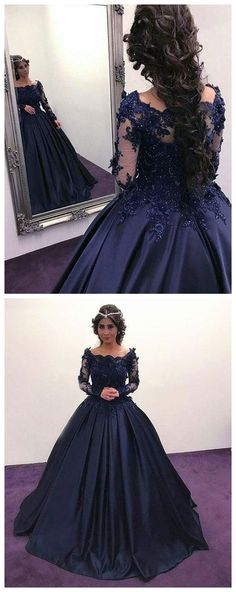 Dark blue lace stain long prom gown, long sleeve evening dress P0618 #promdresses #longpromdresses #2018promdresses #fashionpromdresses #charmingpromdresses #2018newstyles #fashions #styles #hiprom #navybluepromdress