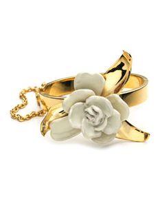 Gardenia Bracelet Cuff by AERIN at Bergdorf Goodman. Cuff Jewelry, Jewelry Art, Cuff Bracelets, Jewelery, Fashion Jewelry, Bangles, Rosalie, Latest Jewellery, Stone Necklace