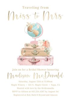 Travel Bridal Shower Invitation Boho Traveling from Miss to Mrs Theme Invite Gold Blush Pink Adventure Vintage Wedding Luggage Wanderlust Travel Bridal Showers, My Bridal Shower, Bridal Shower Games, Bridal Shower Decorations, Bridal Shower Invitations, Baby Shower Parties, Wedding Showers, Ceremony Decorations, Shower Party