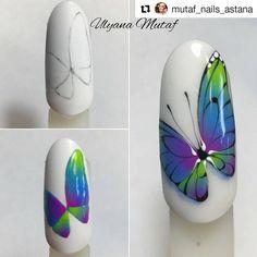 Acuarela Fancy Nails, Cute Nails, Nail Drawing, Gel Nagel Design, Butterfly Nail Art, Animal Nail Art, Nails Design With Rhinestones, Cute Nail Art Designs, Painted Nail Art