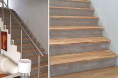Concrete esacalier dressing with custom oak steps from La Boutique du B . Escalier Design, Basement Stairs, Stair Railing, Basement Remodeling, Concrete Floors, Cladding, Interior Inspiration, Living Room Designs, Easy Diy