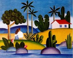 """Tarsila do Amaral - """"Idílio"""" - known simply as Tarsila, is considered to be one of the leading Latin American modernist artists, described as """"the Brazilian painter who best achieved Brazilian aspirations for nationalistic expression in a modern style. Soul Art, Arte Popular, Art Database, Naive Art, Artist Gallery, Artist Painting, Art And Architecture, American Art, Pablo Picasso"""