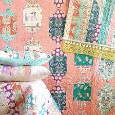 #boho vibes with #annaelisefabrics. Background quilt made by lovely @shawnahaynes using @maychappell pattern. #barijfabric #artgalleryfabrics edited with @acolorstory #acolorstory #eyecandyquilt