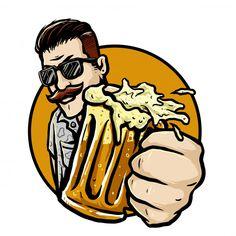 Bearded man with a glass of root beer ve. Beer Logo Design, Beer Background, Brewery Logos, International Beer Day, Unicornios Wallpaper, Beard Art, Pint Of Beer, Beer Shirts, Best Beer