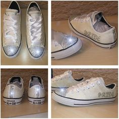Women's Converse All Star Sparkly White Chucks Glitter Swarovski... ($158) ❤ liked on Polyvore featuring shoes, sneakers, grey, women's shoes, white bridal shoes, high top sneakers, grey high tops, grey shoes and white trainers