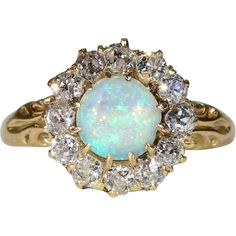 Antique Victorian Diamond and Opal Cluster Ring in 18k Gold www.rubylane.com #vintagebeginshere
