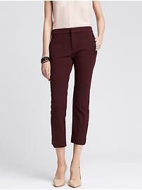 Sloan-Fit Faux-Leather Trim Ankle Pant