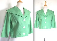 Vintage 1960s Jacket // 60s Apple Green Linen by TrueValueVintage