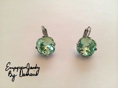 Crystolite / Green  4470 Cushion Swarovski Crystal Gem Earrings with 4 Prong Setting (Nickel free, Platinum Metal) Prom Bridesmaids Wedding by EmpyreanByDamaris on Etsy