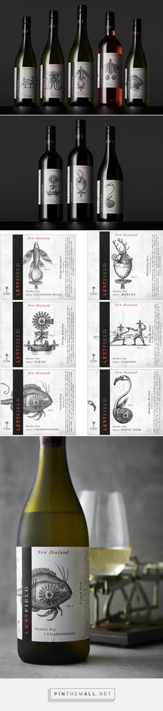 Left Field Wine Label Illustrations by Steven Noble on Behance curated by Packaging Diva PD. Illustrated wine packaging fun.