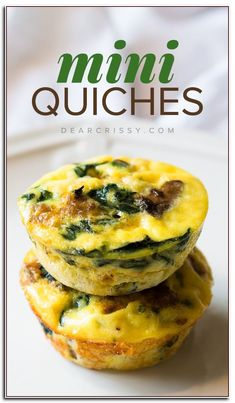Crustless mini quiches This delicious crustless mini quiches recipe features turkey sausage and veggies and reduced fat cheese. These mini quiches are scrumptious and healthy! Mini Quiches, Kiesh Recipes, Brunch Recipes, Breakfast Recipes, Healthy Recipes, Nutritious Breakfast, Party Recipes, Breakfast Ideas, Cooker Recipes