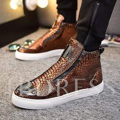 Zipper Round Toe Sequin Serpentine High Top Men's Sneakers Gucci Mens Sneakers, Versace Sneakers, Versace Shoes, Versace Men, Loafers Men, Sneakers Fashion, Men's Sneakers, Fashion Shoes, Versace Slippers