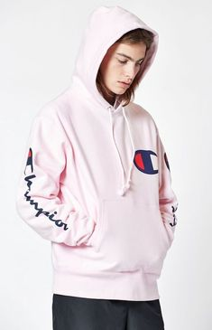 79aceec1 New Pacsun Champion Mens Pink Embroidered Logo Hoodie Sweatshirt Size Medium  #Champion #Hoodie Pink