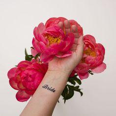 Bride temporary tattoo for wedding photo shoot