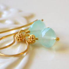 NEW Mint Green Earrings Chalcedony Gemstone by livjewellery, $45.00