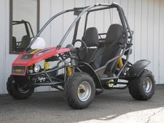 We've just added a new off-road go kart to our inventory. This American SportWorks Carbide is a real performance machine equipped with twin bucket seats (sliding driver's side), quartz halogen running lights, speedometer/odometer, tilting adjustable steering column, 3pt lap/shoulder seatbelts, rearview mirror, and 39mph top speed.   #Carbide #gokart #AmericanSportWorks #offroad #ATV #knobby #dirt #fun