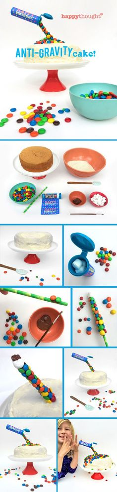 Birthday cake ideas: Make an Anti-Gravity M&M cake! Free printable labels…