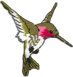 "[Single Count] Custom and Unique (2 3/4"" by 2 1/2"" Inches) Bird Breeds Birds In Flight Right Facing Flying Hummingbird Iron On Embroidered Applique Patch {Green, Pink, and White Colors}"