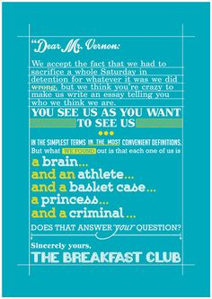 Breakfast Club Movie Poster inspirational Movie Quote Typography Art Poster Print - ending scene quote movie Breakfast Club quote poster art - pinned by pin4etsy.com