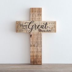 Easter Hymn Gifts & Decor Sale at DaySpring - How Great Thou Art Wooden Cross Pallet Crafts, Wooden Crafts, Wooden Diy, Wooden Signs, Rustic Signs, Crosses Decor, Wall Crosses, Painted Crosses, Wooden Wall Art