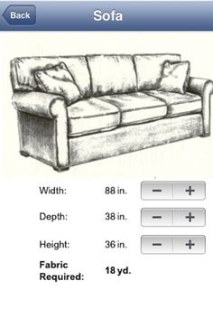Fabric Calc app: use your smartphone to determine the required yardage for your upholstery projects! Simply choose the item you want upholstered, enter the width, depth, and height measurements and allow Fabric Calc to give you the required yardage. Interior Design Advice, Home Hacks, Tool Design, Home Projects, Sewing Projects, Slipcovers, Decorating Tips, Diy Furniture, Furniture Refinishing