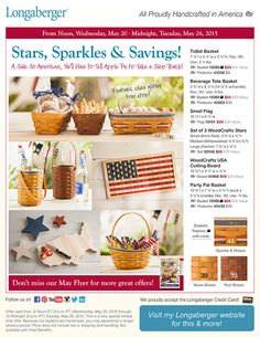 Memorial Day Savings  Shop Amazing Longaberger Home Decor and More.. https://us.longaberger.com/pls/ngs/ngs_inpower.public_party?fv_party_nbr=73354&fv_member_nbr=48852
