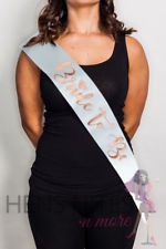 Hens Night Party Sash White Sash with ROSE GOLD writing - BRIDE TO BE
