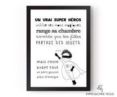 """Impressionne nous - Poster """"un vrai super héros"""""""