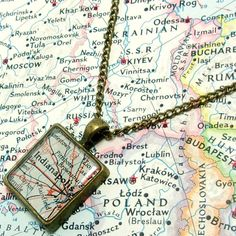 Indianapolis Indiana 1961 Map Necklace. Square by BrassAndChain