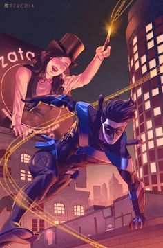 """iconuk01: """" Nightwing and Zatanna by Pryce14 Ecin ssa (Sorry that was a very ass backwords thing to say!)! """""""