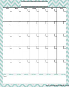 Freebie: Monthly Calendar Printable