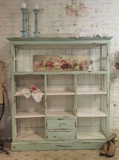 Painted Cottage Chic Shabby Chateau Farmhouse by paintedcottages. This looks just like the bookcase in the dining room! Should I convert it to this shabby cottage look? Shabby Chic Mode, Shabby Chic Bedrooms, Shabby Chic Style, Shabby Chic Furniture, Shabby Chic Decor, Vintage Furniture, Painted Furniture, Bedroom Furniture, Rustic Decor