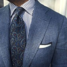 Striped Dress Shirt, Paisley Necktie. Blue Shades. Office Outfit. Shop Menswear at designerclothingfans.com
