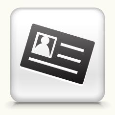 White Square Button with ID Card Icon vector art illustration