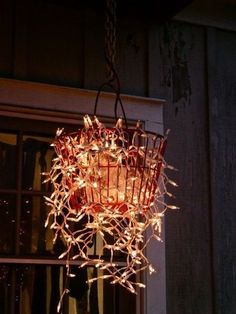 """Fairy lights in a """"bucket""""... looks cute and rustic. Just adding to teh fairy lights ideas."""