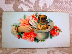 Vintage - 1880's - Victorian Calling Card With  Cute Pug Sitting in a Derby Hat - Unsigned - Unused. $4.80, via Etsy.