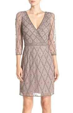 Free shipping and returns on Adrianna Papell Embellished Mesh Sheath Dress at Nordstrom.com. Metallic beading and sequins create…