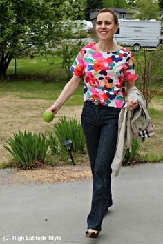 1f0076f7f088 fashion over 50 woman in blouse and jeans Fashion Over 40