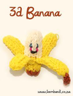 3D Happy Banana loom band tutorial http://loomband.co.za/3d-happy-banana-loom-band-tutorial/