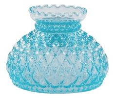 """Blue Glass Diamond Quilted 7"""" Student Lamp Shade.  Lighting Replacement Lampshade For Antique, Vintage or Contemporary Kerosene Oil Burners or Electric Wall Sconce Bracket, Student Desk, Table, Tension Pole or Floor Lamp, or Hanging Chandelier Light Fixture."""
