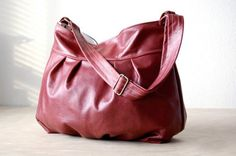 Jennydesign (etsy) Baby Ruche Bag in Wine leather made to order