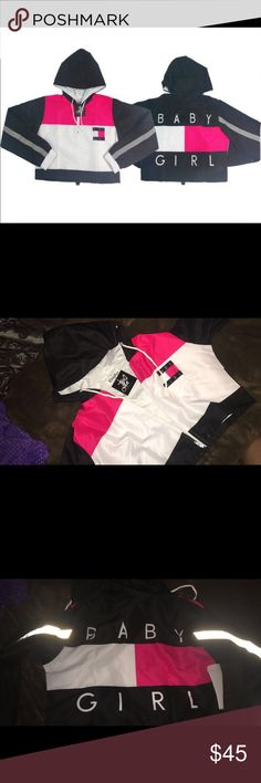 Baby girl crop windbreaker Pink, brand new never worn, still has tags. Bought it online and it wasn't the right size. Thug Ave Jackets & Coats