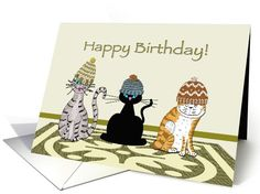 Cats with Hats Birthday card (1015383)