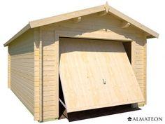 Garage Bari en bois de sapin pour 1 voiture, 18.55 m², épaisseur 34 mm.