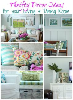 Lots of ideas for a gorgeous dining and living room full of inexpensive DIY projects