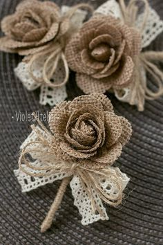 3 pcs Groom Groomsmen Rustic Boutonnieres, Burlap Rose Men Boutonnieres, Burlap Lace Buttonhole, Fathers Wedding Boutonniere - This listing is for 3 burlap rose lace ribbon Groom and Groomsmen wedding boutonnieres. Burlap Roses, Burlap Lace, Burlap Wreath, Lace Ribbon, Hessian, Burlap Flowers Wedding, Burlap Wedding Decorations, Jute Flowers, Diy Flowers