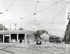 "Cambridge, Massachusetts, circa 1912. ""Entrance to subway, Harvard Square."" 8x10 inch dry plate glass negative, Detroit Publishing Company. View full size."