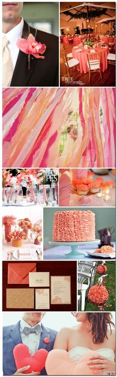 Coral Wedding Colors.  This is just so pretty!