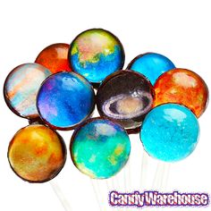 Galaxy Lollipops - Planets and Sun Collection: Gift Pack Bulk Candy, Candy Shop, Fruity Pops, Online Candy Store, Gas Giant, 9th Birthday Parties, Space Theme, Candy Party, Candy Gifts